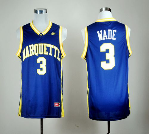 Golden Eagles #3 Dwyane Wade Blue Basketball Stitched NCAA Jersey