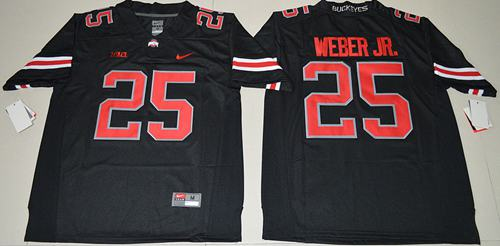 Buckeyes #25 Mike Weber Jr. Black(Red No.) Limited Stitched NCAA Jersey