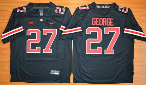 Buckeyes #27 Eddie George Black(Red No.) Limited Stitched NCAA Jersey