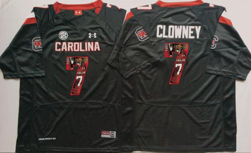 Fighting Gamecocks #7 Jadeveon Clowney Black Player Fashion Stitched NCAA Jersey