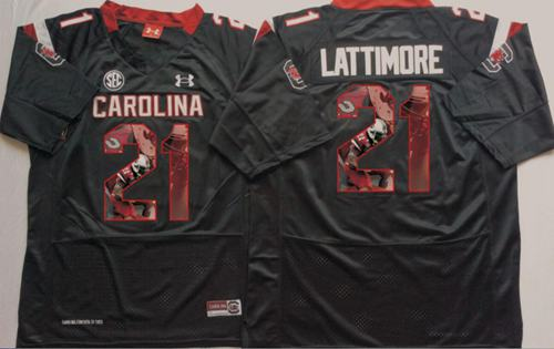 Fighting Gamecocks #21 Marcus Lattimore Black Player Fashion Stitched NCAA Jersey
