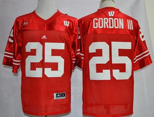 Badgers #25 Melvin Gordon III Red Big Ten Stitched NCAA Jersey