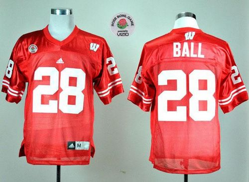 Badgers #28 Montee Ball Red Rose Bowl Game Stitched NCAA Jersey