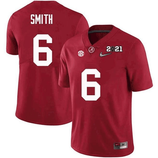 Men's Alabama Crimson Tide #6 DeVonta SmithRed 2021 National Champions Stitched Jersey
