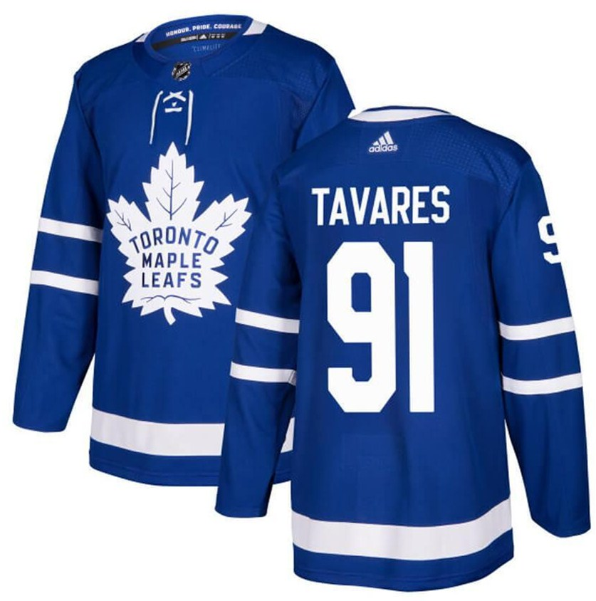 Men's Adidas Toronto Maple Leafs #91 John Tavares Blue Stitched NHL Jersey