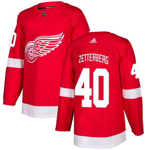 Men's Adidas Detroit Red Wings #40 Henrik Zetterberg Red Stitched NHL Jersey