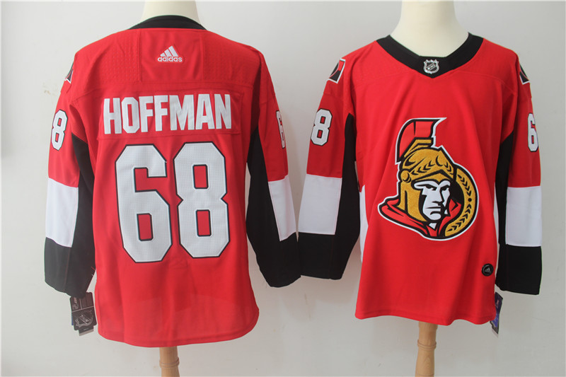 Men's Adidas Ottawa Senators #68 Mike Hoffman Red Stitched NHL Jersey