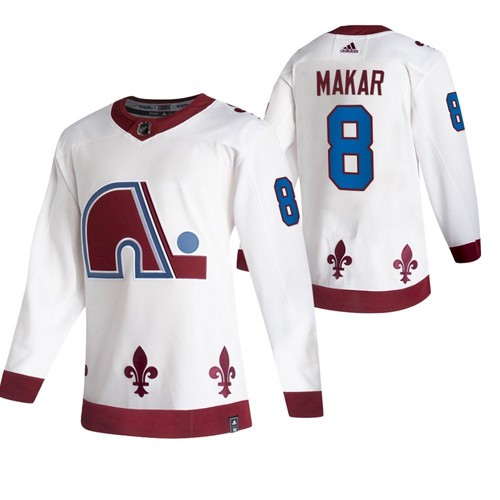 Men's Colorado Avalanche #8 Cale Makar 2020-21 White Reverse Retro Stitched Jersey