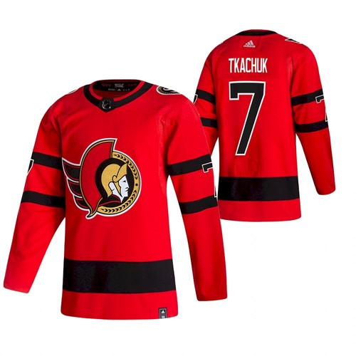 Men's Ottawa Senators #7 Brady Tkachuk 2021 Red Reverse Retro Stitched Jersey