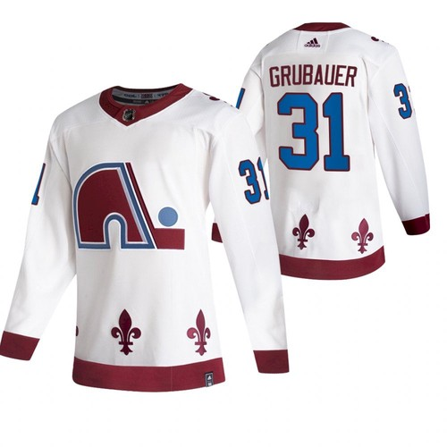 Men's Colorado Avalanche #31 Philipp Grubauer 2020-21 White Reverse Retro Stitched Jersey