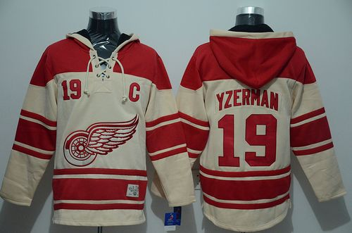Red Wings #19 Steve Yzerman Cream Sawyer Hooded Sweatshirt Stitched NHL Jersey