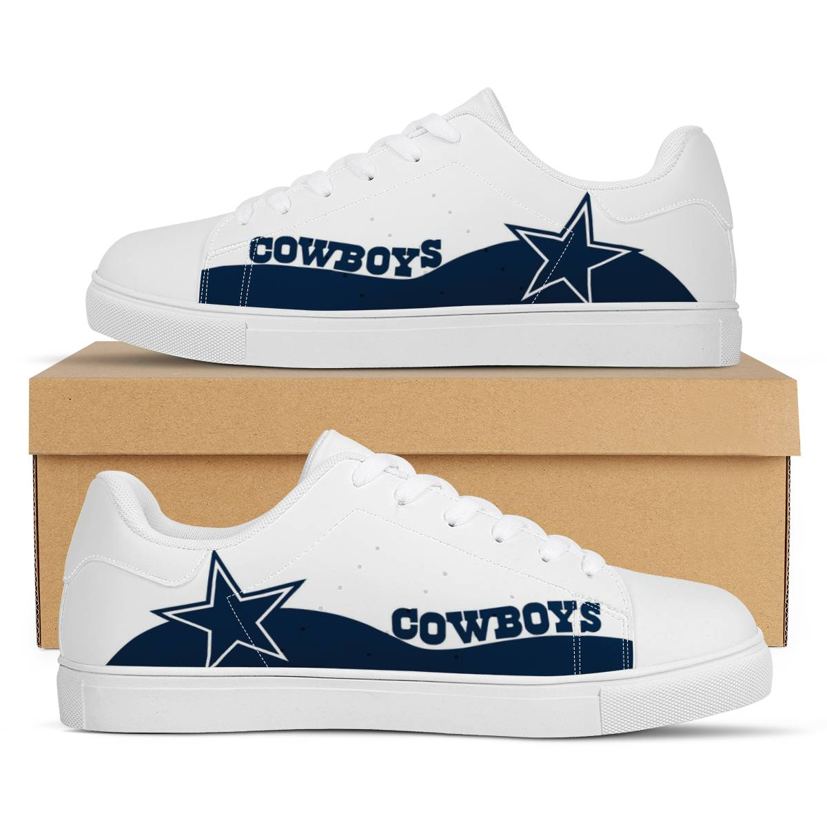 Men's Dallas Cowboys Low Top Leather Sneakers 001