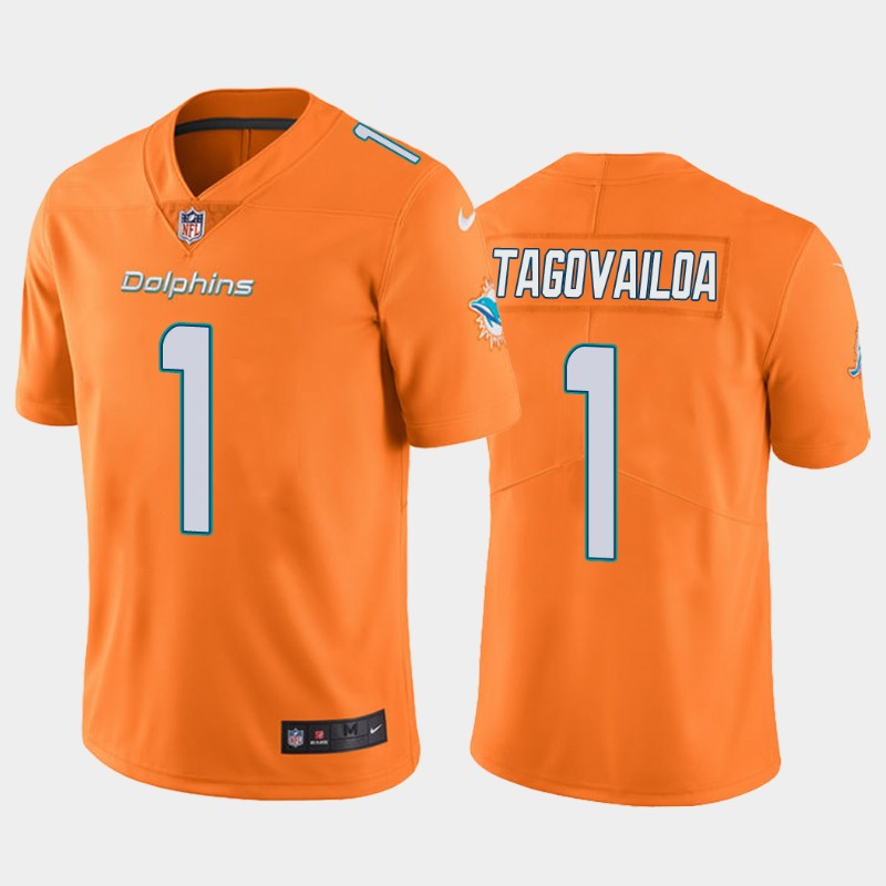 Men's Miami Dolphins #1 Tua Tagovailoa Orange Vapor Limited Stitched NFL Jersey