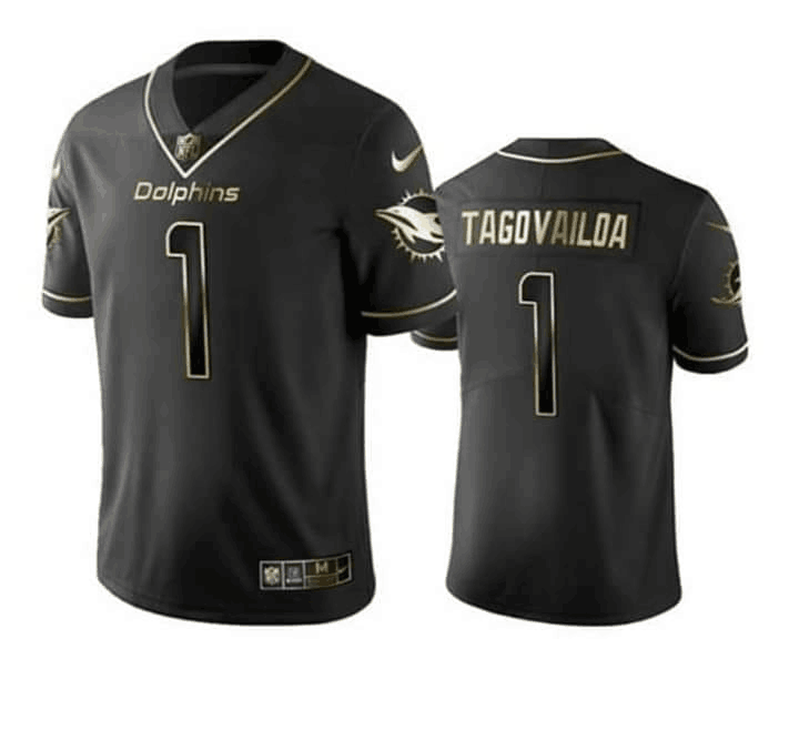 Men's Miami Dolphins #1 Tua Tagovailoa Black Golden Stitched NFL Jersey