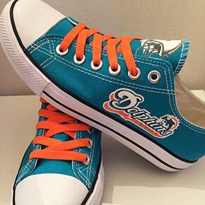 Women's NFL Miami Dolphins Repeat Print Low Top Sneakers 008