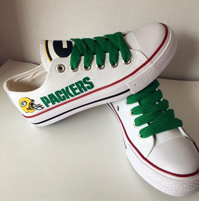 Women's NFL Green Bay Packers Repeat Print Low Top Sneakers 016