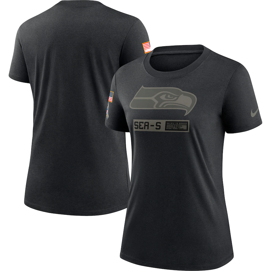 Women's Seattle Seahawks 2020 Black Salute To Service Performance T-Shirt (Run Small) (Run Small)