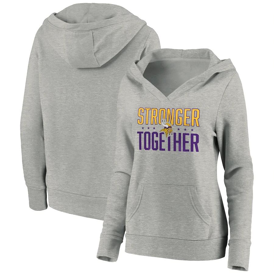 Women's Minnesota Vikings Heather Gray Stronger Together Crossover Neck Pullover Hoodie(Run Small)