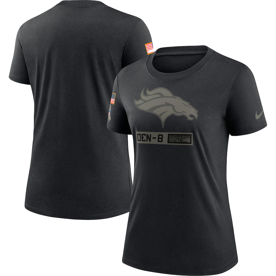 Women's Denver Broncos 2020 Black Salute To Service Performance T-Shirt (Run Small)