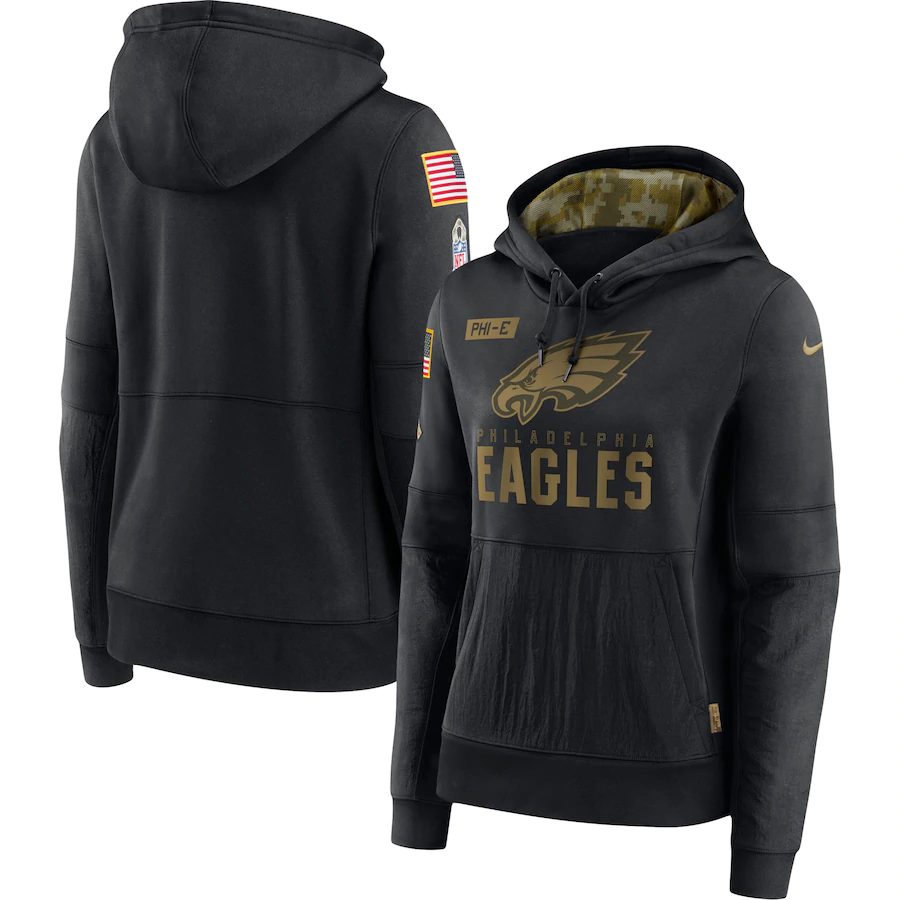 Women's Philadelphia Eagles 2020 Black Salute to Service Sideline Performance Pullover Hoodie (Run Small)