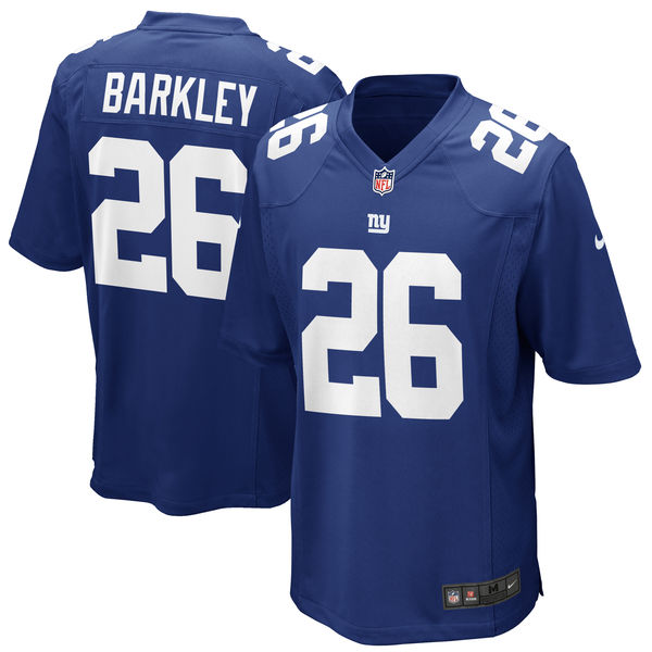 Men's New York Giants #26 Saquon Barkley Royal 2018 NFL Draft First Round Pick Game Jersey