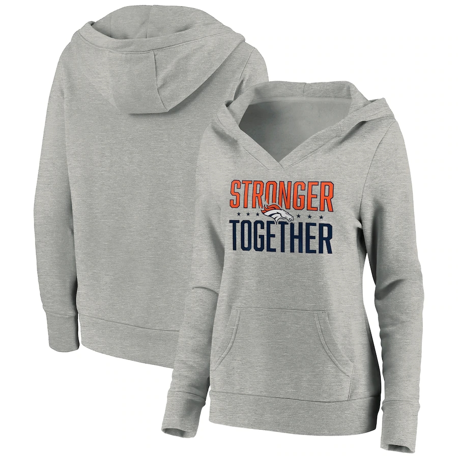 Women's Denver Broncos Heather Gray Stronger Together Crossover Neck Pullover Hoodie(Run Small)