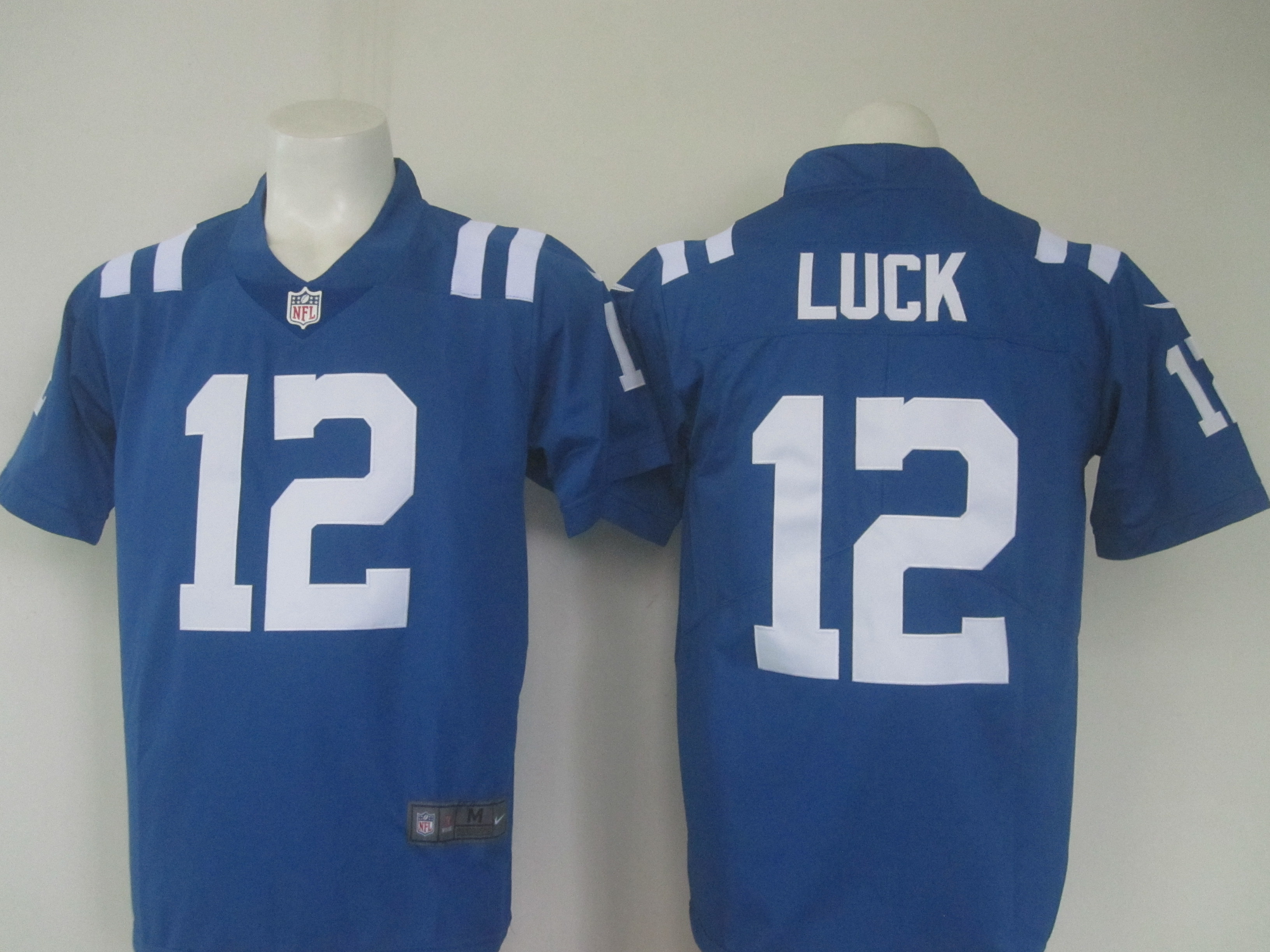Men's Nike Colts #12 Andrew Luck Blue Limited Rush Stitched NFL Jersey