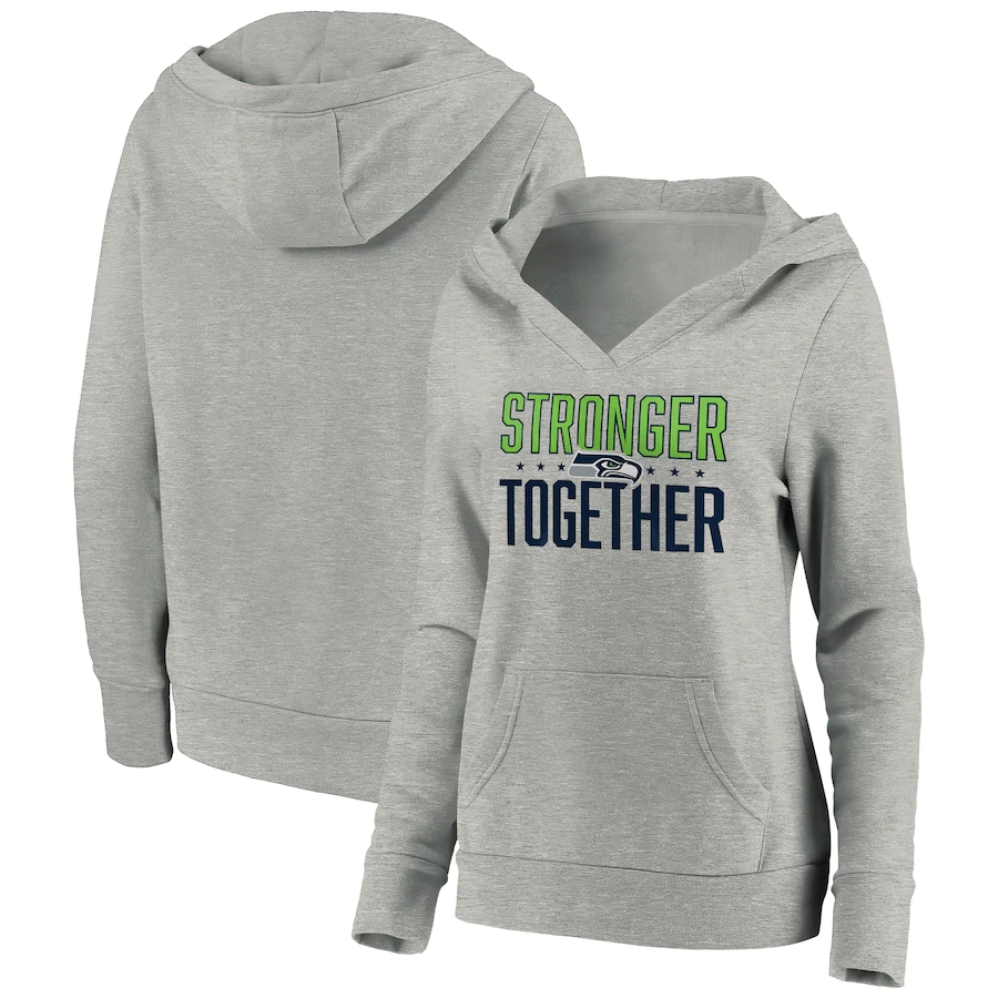 Women's Seattle Seahawks Heather Gray Stronger Together Crossover Neck Pullover Hoodie(Run Small)