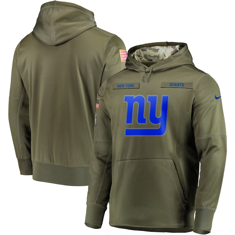 Men's New York Giants 2018 Olive Salute to Service Sideline Therma Performance Pullover Stitched NFL Hoodie