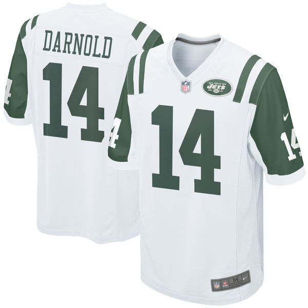Men's New York Jets #14 Sam Darnold White 2018 NFL Draft Pick Game Jersey