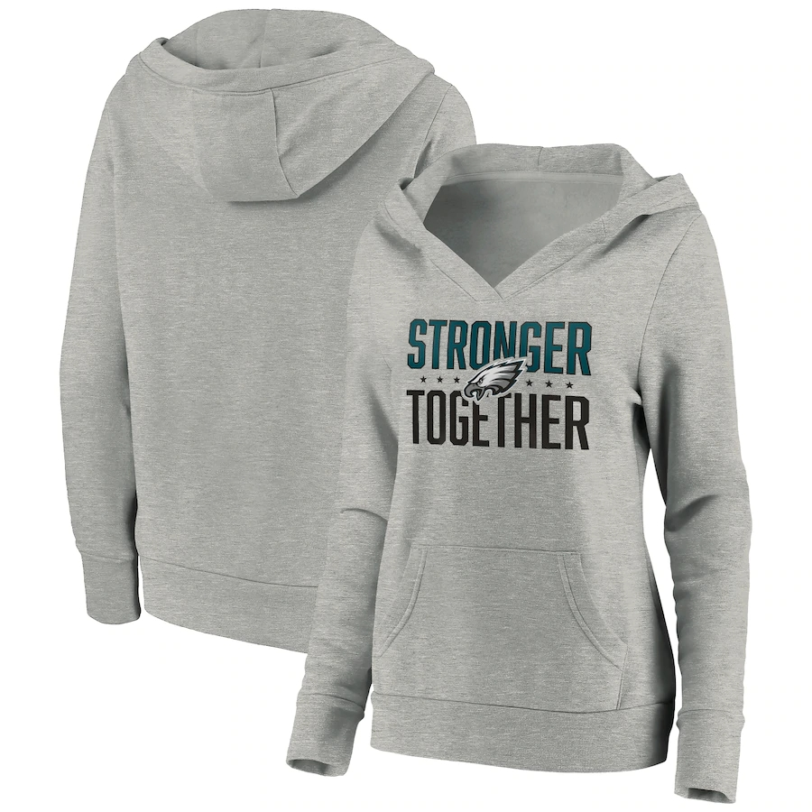 Women's Philadelphia Eagles Heather Gray Stronger Together Crossover Neck Pullover Hoodie(Run Small)