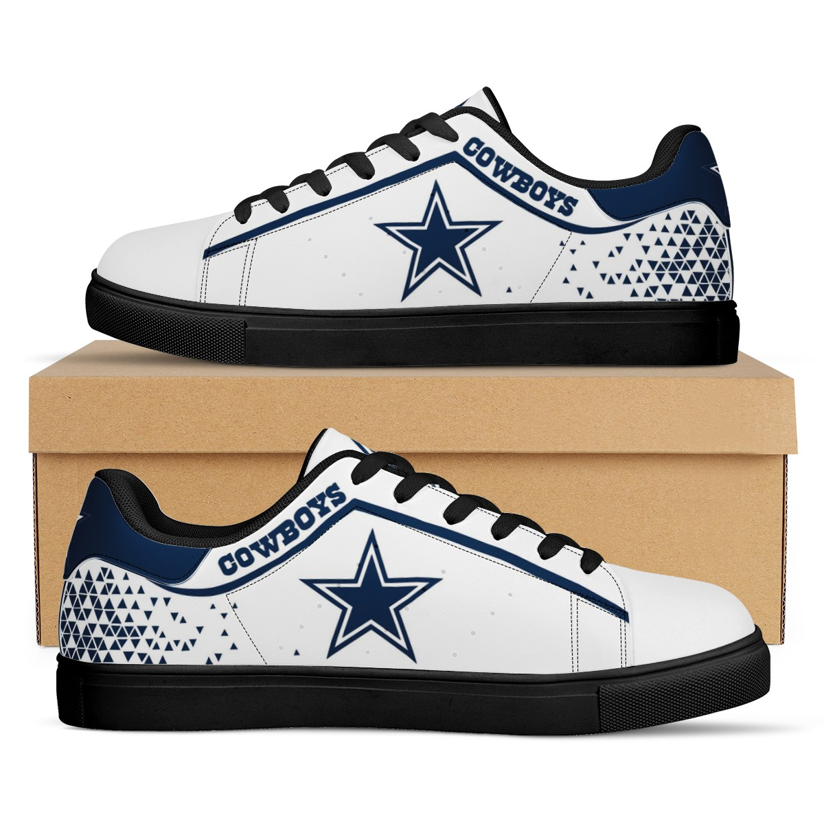 Men's Dallas Cowboys Low Top Leather Sneakers 002