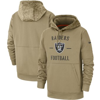 Men's Oakland Raiders Tan 2019 Salute to Service Sideline Therma Pullover Hoodie