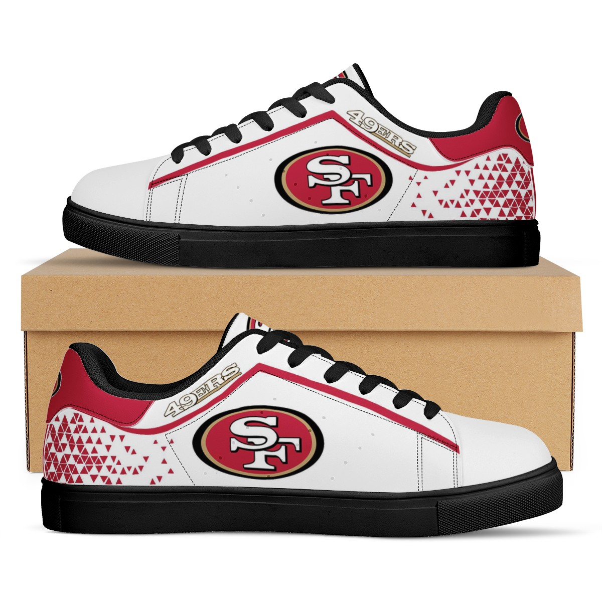 Men's San Francisco 49ers Low Top Leather Sneakers 001