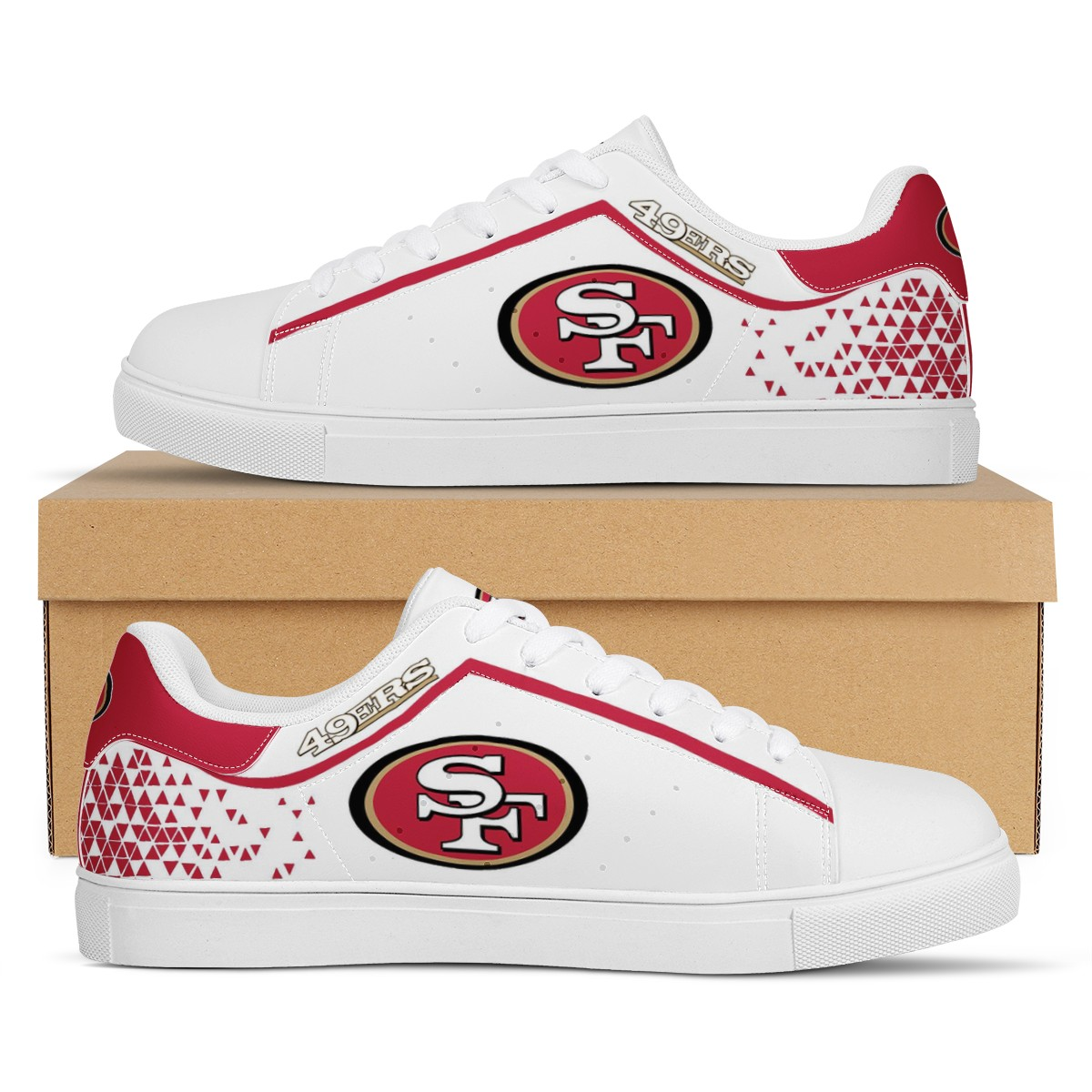 Men's San Francisco 49ers Low Top Leather Sneakers 002