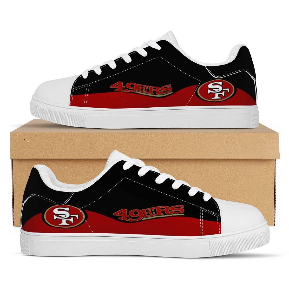 Men's San Francisco 49ers Low Top Leather Sneakers 003