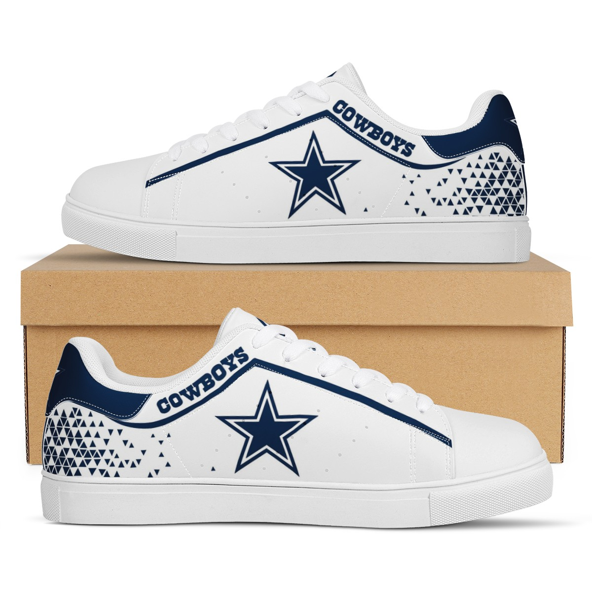 Men's Dallas Cowboys Low Top Leather Sneakers 003