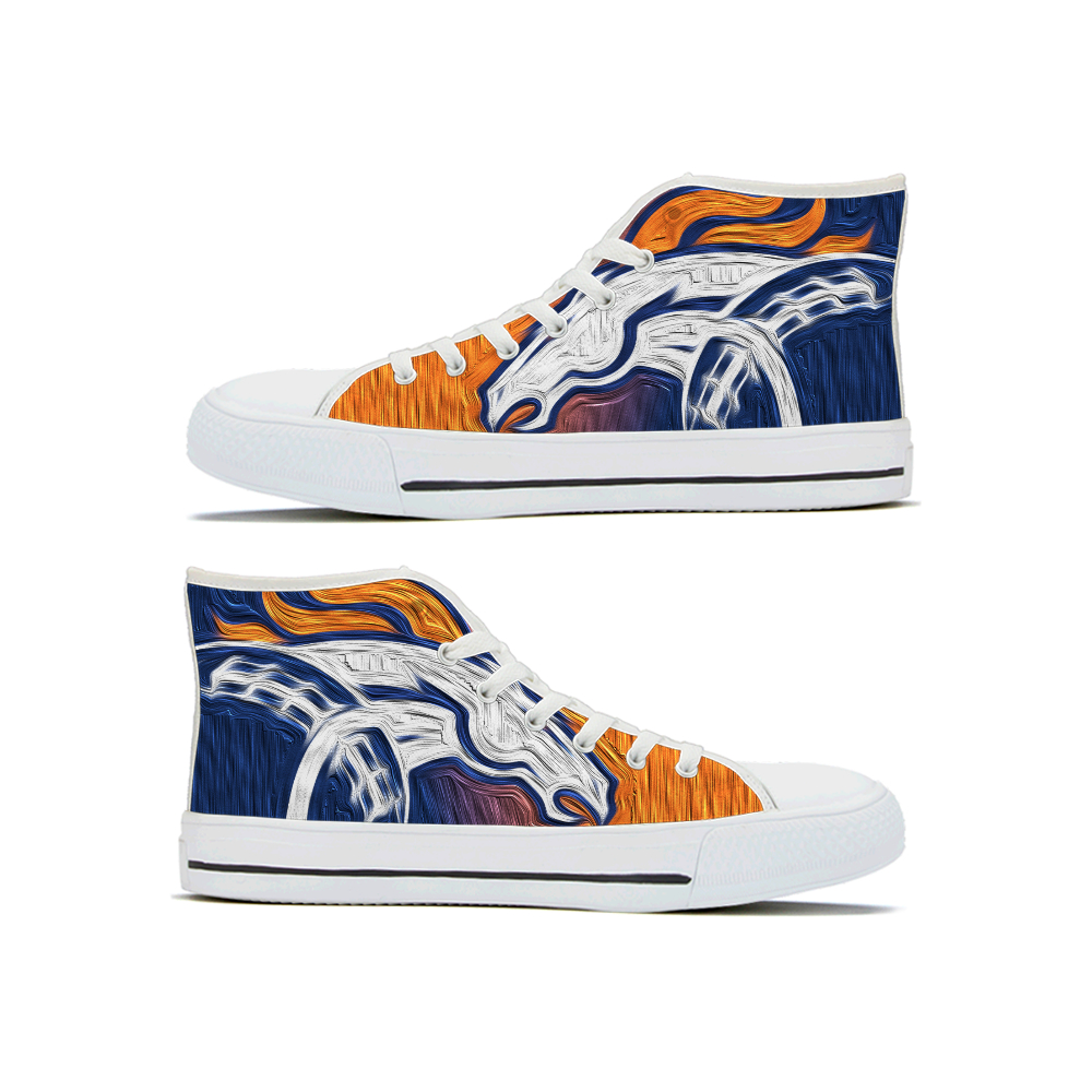 Women's Denver Broncos High Top Canvas Sneakers 001