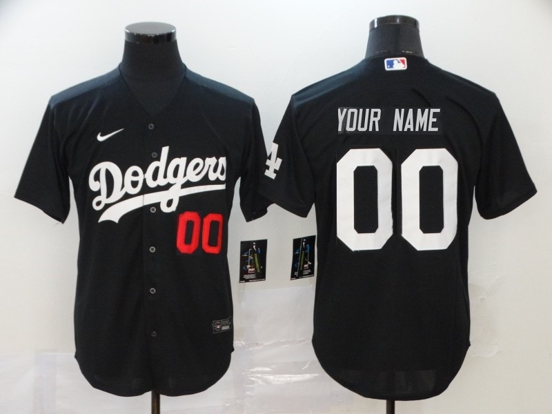 Men's Los Angeles Dodgers ACTIVE PLAYER Black Custom Stitched Jersey