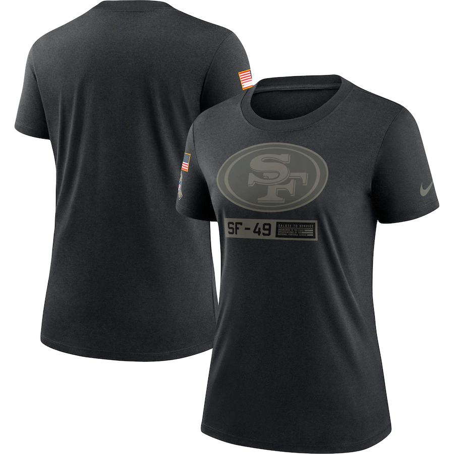 Women's San Francisco 49ers 2020 Black Salute To Service Performance T-Shirt (Run Small)