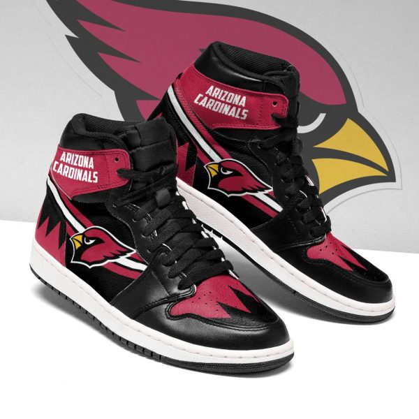 Men's Arizona Cardinals High Top Leather AJ1 Sneakers 003