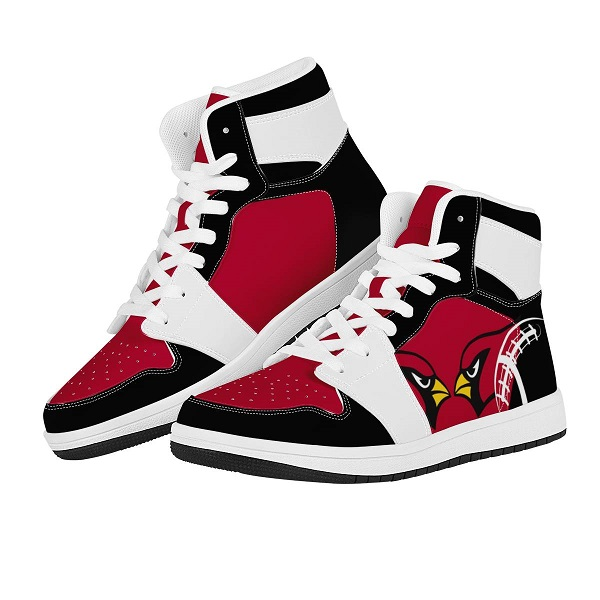 Men's Arizona Cardinals High Top Leather AJ1 Sneakers 002