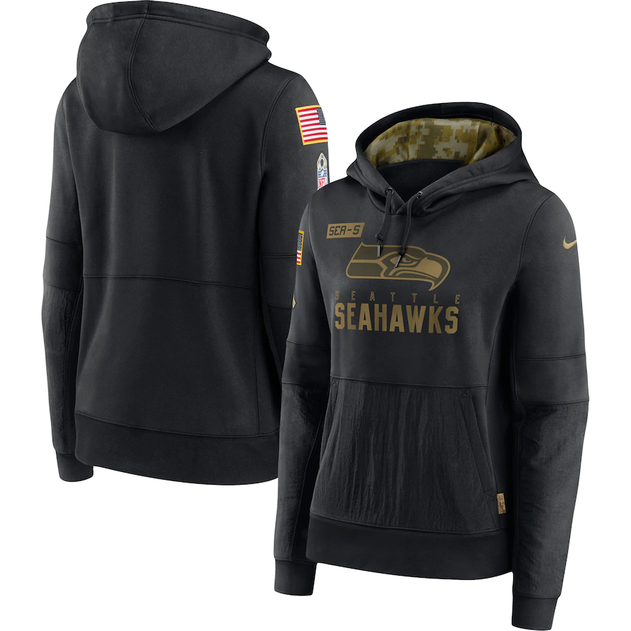 Women's Seattle Seahawks 2020 Black Salute to Service Sideline Performance Pullover Hoodie (Run Small)