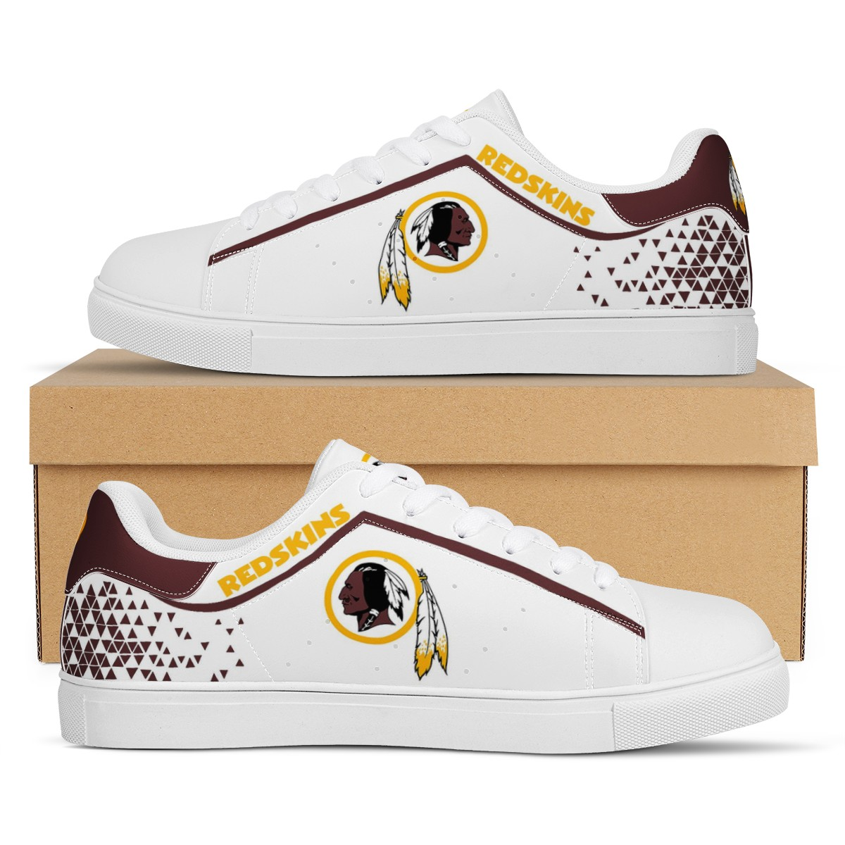 Men's Washington Football Team Low Top Leather Sneakers 002