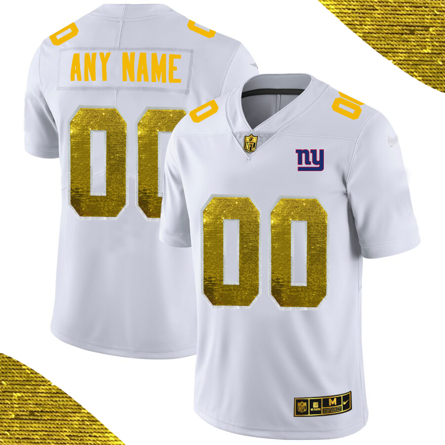 Men's New York Giants ACTIVE PLAYER White Custom Gold Fashion Edition Limited Stitched Jersey