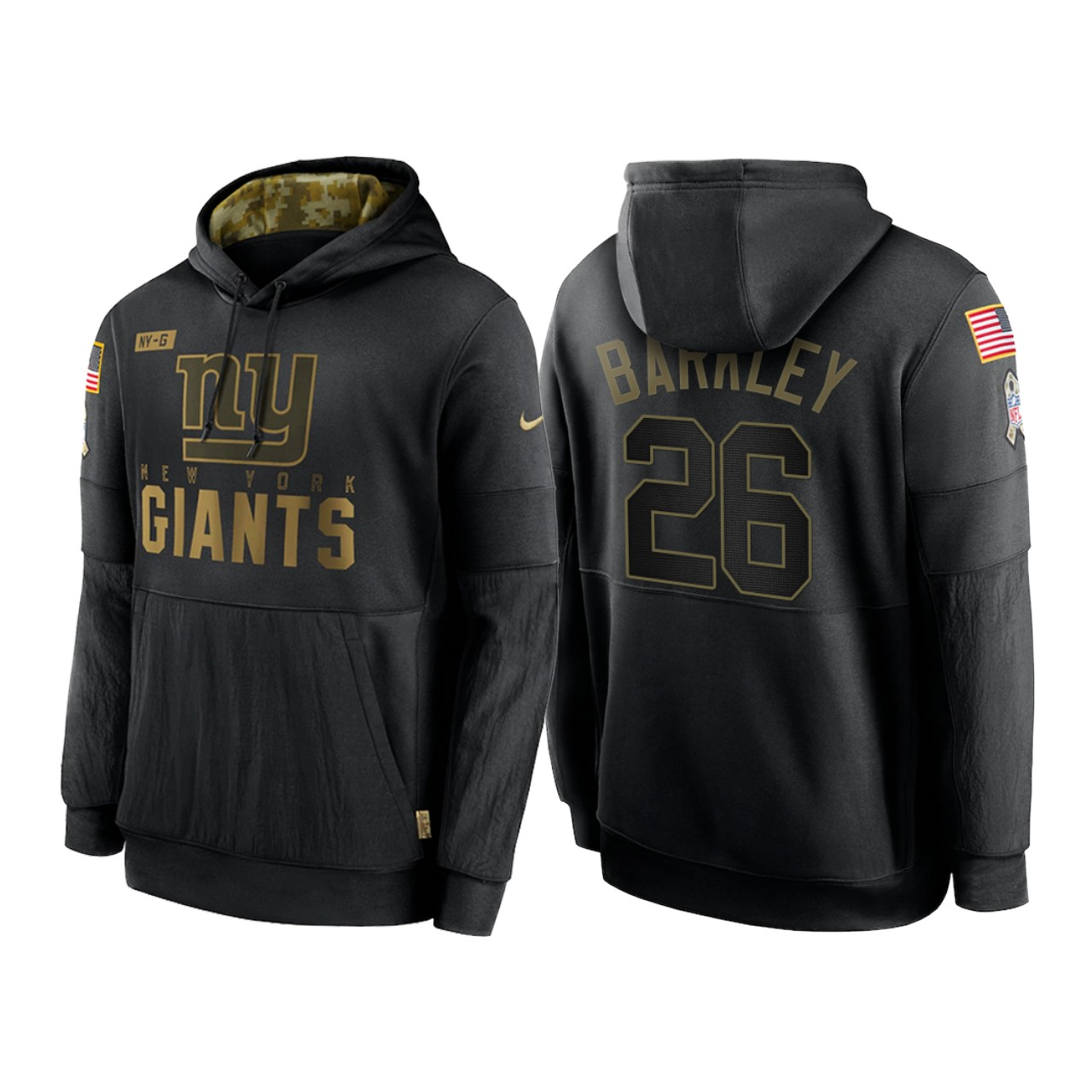Men's New York Giants #26 Saquon Barkley 2020 Black Salute to Service Sideline Performance Pullover Hoodie