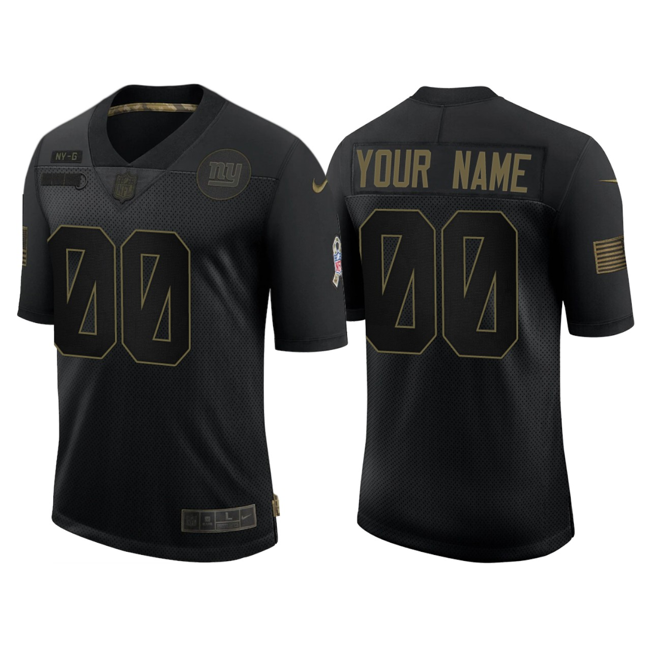 Men's New York Giants ACTIVE PLAYER Custom 2020 Black Salute To Service Limited Stitched Jersey