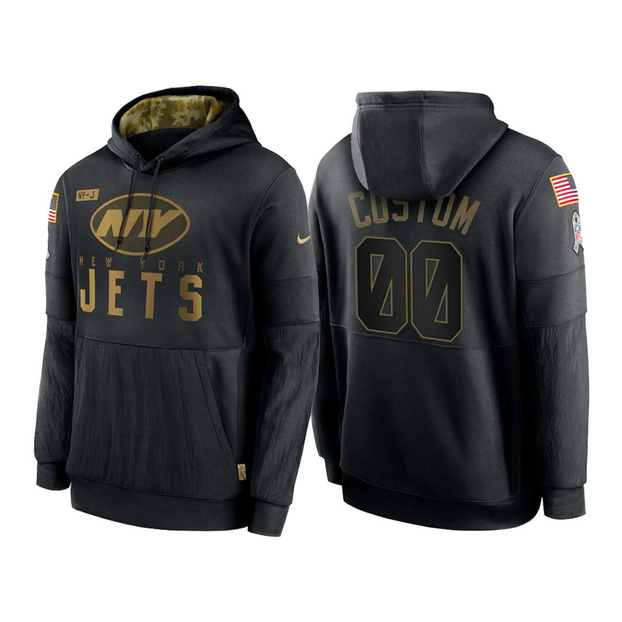 Men's New York Jets ACTIVE PLAYER Custom 2020 Black Salute to Service Sideline Performance Pullover Hoodie
