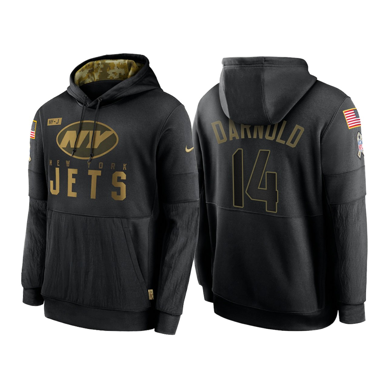 Men's New York Jets #14 Sam Darnold 2020 Black Salute to Service Sideline Performance Pullover Hoodie