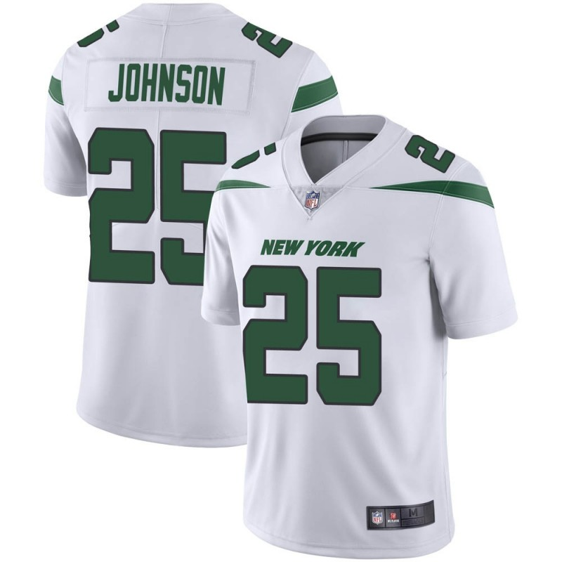 Men's New York Jets #25 Ty Johnson White Vapor Untouchable Limited Stitched Jersey